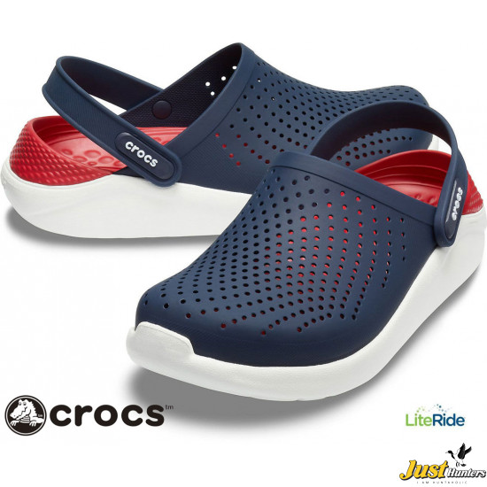 Crocs LiteRide Clogs Navy Blue and Red