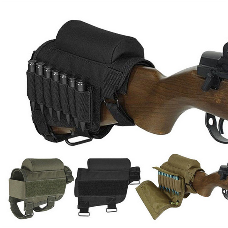 Tactical Removable Covers Adjustable Gun Holster Bullet Stock Rifle Cheek  Rest Pouch with Bullet Holders Bags